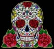 Sugar Skull and Red Roses - Cross Stitch Chart
